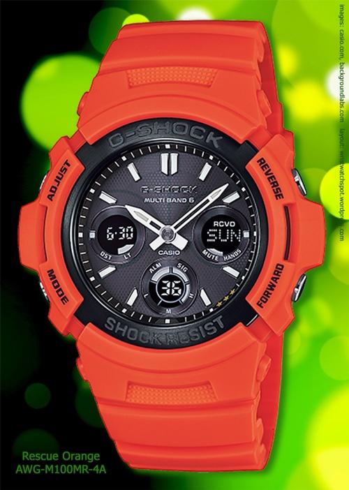 awg-m100mr-4a, g-shock watch rescue orange