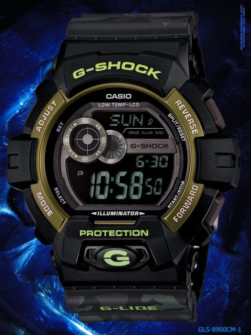 g-shock_gls-8900cm-1 2014 camouflage black gold wrist watch g-lide