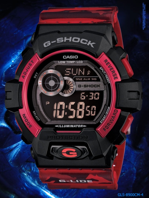 g-shock_gls-8900cm-4 g-lide 2014 sports fashion camouflage red gray