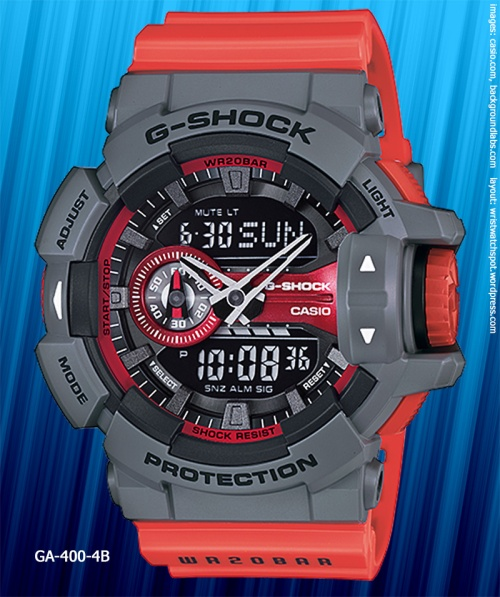 GA-400-4B_g-shock_2014 red gray watch rotary switch 1990s fashion