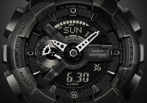 ga110cm-1a_g-shock_close-up black camouflage watch camo