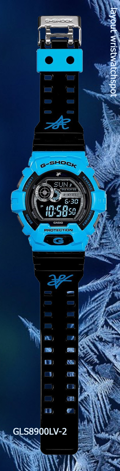 gls8900lv-2_g-shock_full front view collectible blue watch g-lide louie vito