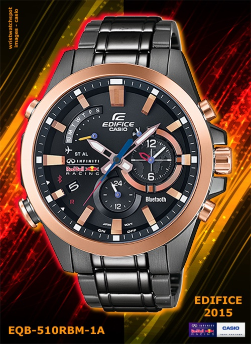 EQB-510RBM-1A_edifice_2015, flagship, smart phone watch, rose gold, new, red bull infiniti