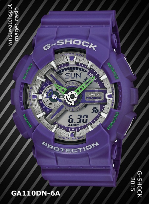 ga110dn-6a_g-shock, 2015, wristwatch, dusty neon