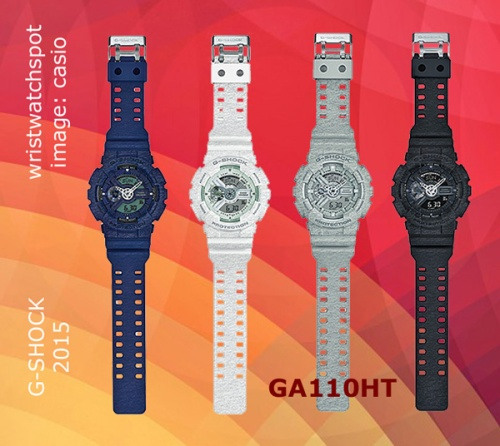 new wristwatch,parker fabric, 2015, sweat, new wristwatch, ga110ht-8a_g-shock, grey gray, white, black, blue,