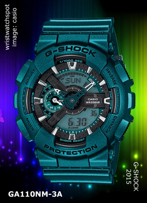ga110nm-3a_g-shock, 2015 watch metallic green