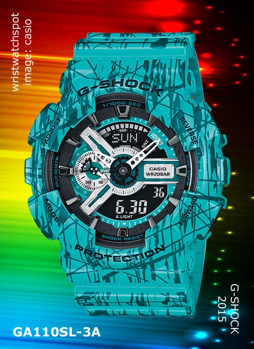 2015 g-shock watch, slash pattern, ga110sl-3a_g-shock