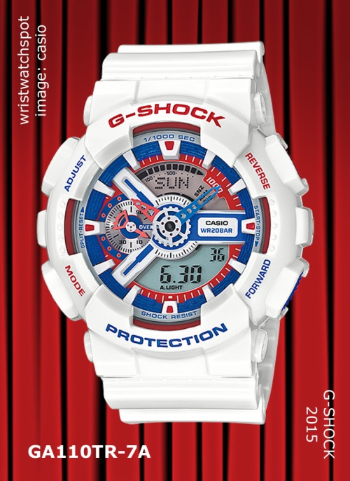 2015 g-shock watch, slash pattern, ga110sl-3a_g-shock, ga110sl-4a_g-shock, ga110sl-8a, 2015, wristwatch, tri color, american glory