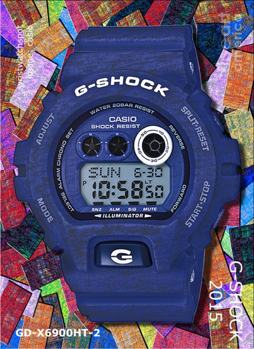 heathered 2015 fashion watch gd-x6900ht-2_g-shock