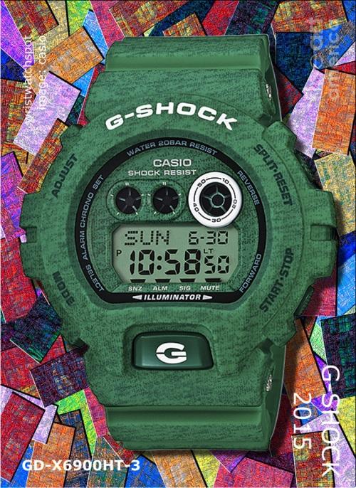 2015 fashion gd-x6900ht-3_g-shock heathered green