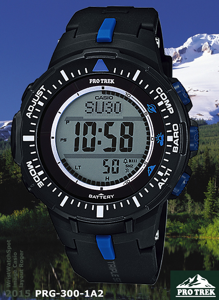 PRG-300-1A2 protrek 2015 wrist watch casio black white b6640ed92