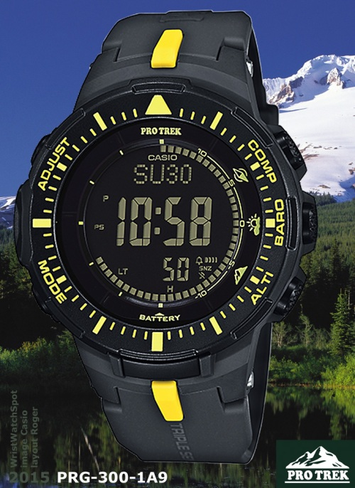 yellow and black pro trek new model watch PRG-300-1A9_protrek_2015