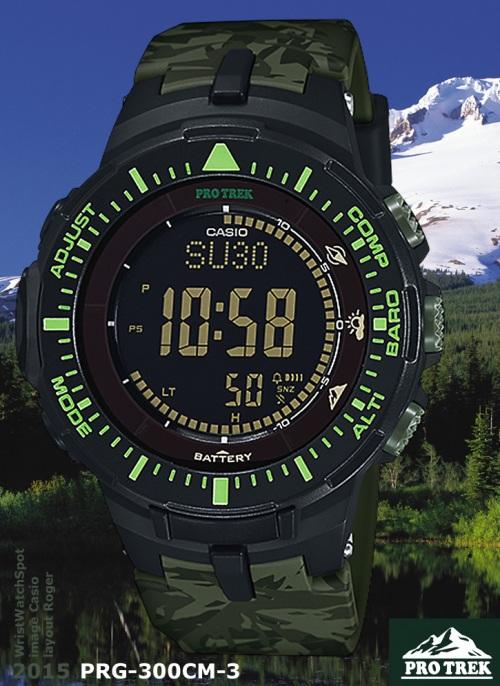 new model wrist watch spot PRG-300CM-3_protrek_2015 camo camouflage green